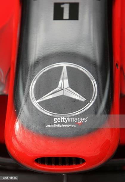 A detail view of the nose cone of a McLaren Mercedes is pictured in pitlane as preparations are made for the 2007 FORMULA 1 ING Australian Grand Prix...