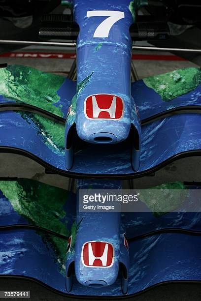A detail view of the nose cone of the Honda Racing car is pictured in pitlane as preparations are made for the 2007 FORMULA 1 ING Australian Grand...