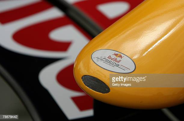 A detail view of the nose cone of the Red Bull Racing team is pictured in pitlane as preparations are made for the 2007 FORMULA 1 ING Australian...