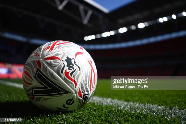 Detail view of the official Mitre Pro Delta Emirates FA Cup match ball prior to the Semi Final of the Emirates FA Cup match between Manchester City...