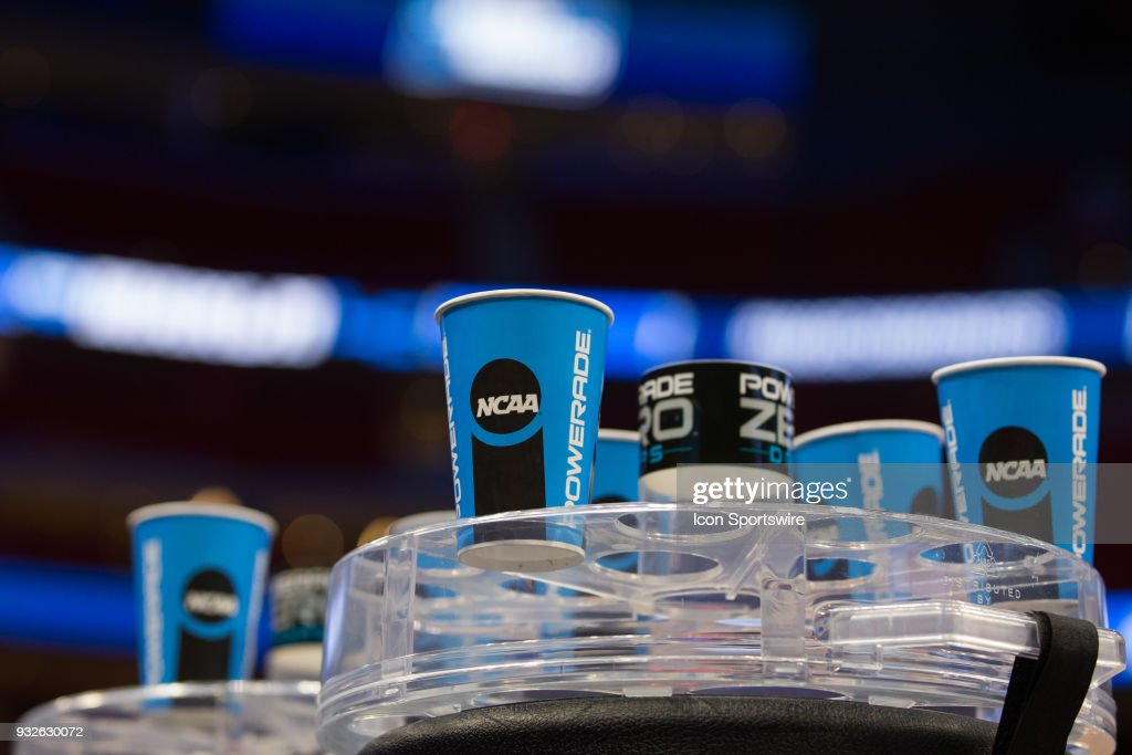 A detail view of the official Powerade NCAA cups is seen during an open public practice during the practice day before the first round of the 2018 NCAA Tournament on March 15, 2018 at Little Caesars Arena, in Detroit, Michigan.