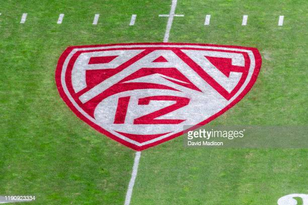 Detail view of the Pac-12 logo on the field at Stanford Stadium prior to the 122nd Big Game between the Stanford Cardinal and the California Golden...
