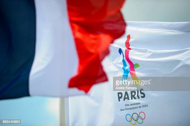 Detail view of the Paris 2024 Olympic Games flag during the day 11 of the French Open at Roland Garros on June 7 2017 in Paris France