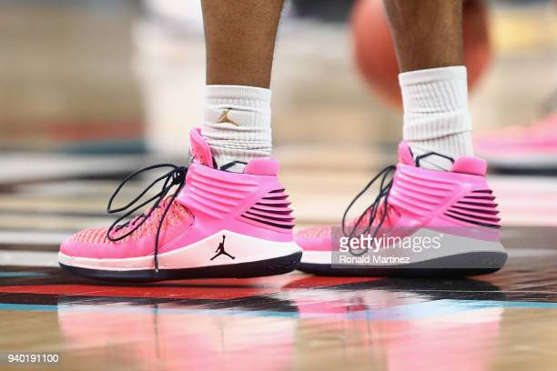 A detail view of the pink Nike Air Jordan 32 sneakers worn by the Michigan Wolverines during practice before the 2018 Men's NCAA Final Four at the...