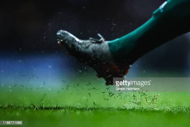 A detail view of the pitch is seen during the UEFA Euro 2020 Qualifier between Germany and Northern Ireland at Commerzbank Arena on November 19 2019...