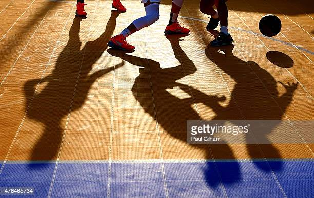 A detail view of the players shadows during the Women's 3x3 Basketball round of 16 knockout match between Russia and Netherlands during day thirteen...