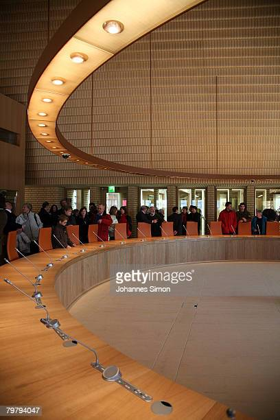 Detail view of the plenary hall of the newly erected Liechtenstein Parliamentary Building seen during a general opening to the public on February 16...
