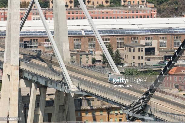 Detail view of the Ponte Morandi collapsed on August 14 in Genoa causing the death of 43 people