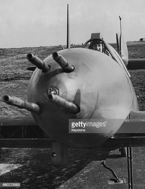 A detail view of the quad 20 mm HispanoSuiza Cannon of a Westland Whirlwind Mk1 singleseat twinengined fighter bomber of No263 Squadron of the Royal...
