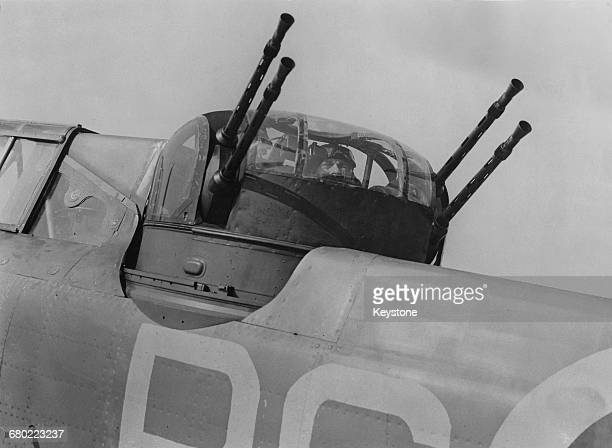 Detail view of the quad .303 Browning machine gun power operated turret of a Boulton Paul Defiant two seater interceptor aircraft of No.264 Squadron...