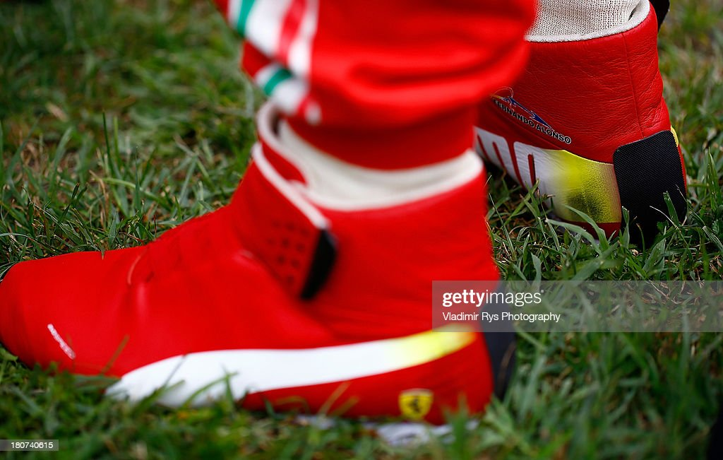 d40af8bde41d3 A detail view of the racing shoe of Fernando Alonso of Spain and ...