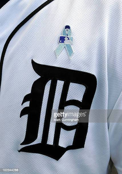A detail view of the ribbon worn to honor prostate cancer research during the game between the Detroit Tigers and the Arizona Diamondbacks at...