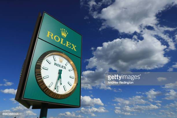 A detail view of the Rolex clock during the first round of the 2017 US Open at Erin Hills on June 15 2017 in Hartford Wisconsin