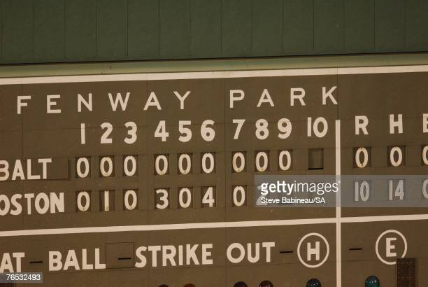 Detail view of the scoreboard after Clay Buchholz of the Boston Red Sox pitched a no-hitter against the Baltimore Orioles on September 1, 2007 at...