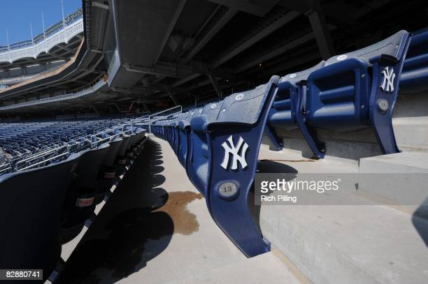 A detail view of the seats during construction in the new Yankee Stadium in the Bronx New York on September 18 2008