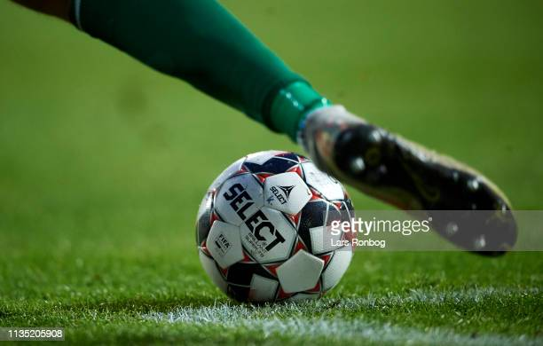 Detail view of the Select Sport match ball during the Danish Superliga match between AC Horsens and AGF Aarhus at CASA Arena Horsens on April 5 2019...