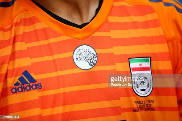 Detail View of the shirt of Ali Beiranvand of IR Iran during the 2018 FIFA World Cup Russia group B match between Morocco and Iran at Saint...