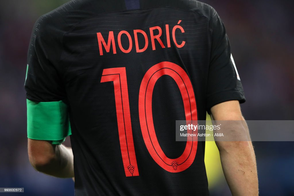 online store f4ba0 eadc4 Detail View of the shirt of Luka Modric of Croatia during ...