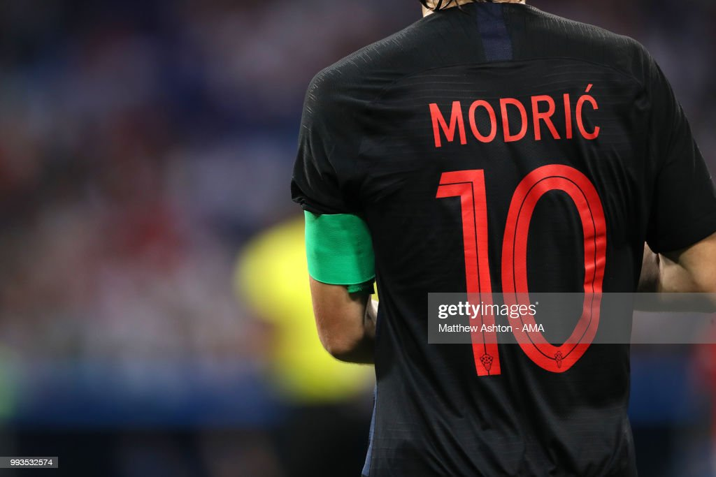 online store 3a3a2 9f400 Detail View of the shirt of Luka Modric of Croatia during ...