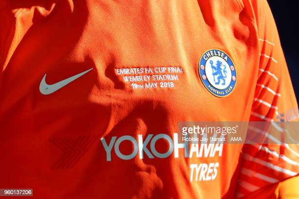 Detail View of the shirt of Thibaut Courtois of Chelsea during the Emirates FA Cup Final between Chelsea and Manchester United at Wembley Stadium on...