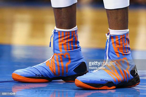 A detail view of the shoes of Russell Westbrook of the Oklahoma City Thunder in game six of the Western Conference Finals against the Golden State...