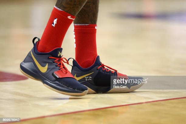 A detail view of the shoes of Washington Wizards against the Cleveland Cavaliers at Capital One Arena on November 3 2017 in Washington DC NOTE TO...