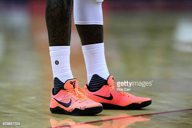 A detail view of the shoes of Washington Wizards in the first half against the Charlotte Hornets at Verizon Center on December 14 2016 in Washington...