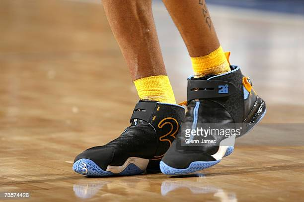 A detail view of the shoes worn by Allen Iverson of the Denver Nuggets during the game against the Dallas Mavericks on February 24 2007 at the...