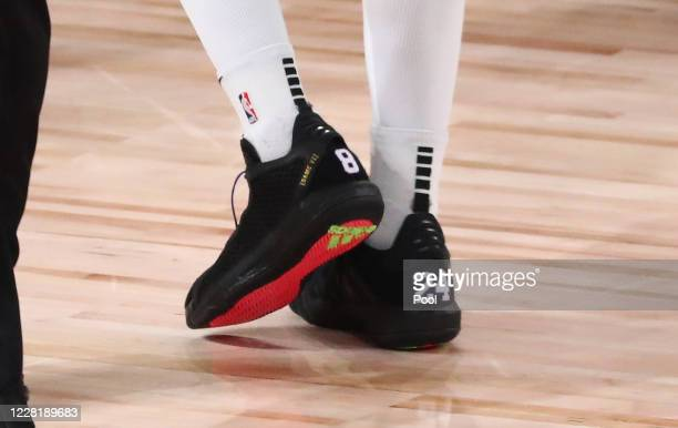 Detail view of the shoes worn by Damian Lillard of the Portland Trail Blazers in the first half against the Los Angeles Lakers in game four of the...