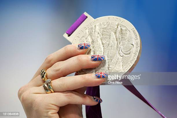 A detail view of the silver medal belonging to Heather Frederiksen of Great Britain following the medal ceremony for the Women's 100m Freestyle S8...