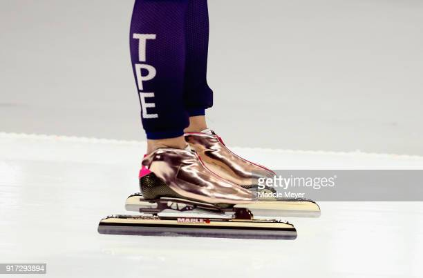 A detail view of the skates worn by YuTing Huang of Chinese Taipei as she competes during the Ladies 1500m Long Track Speed Skating final on day...