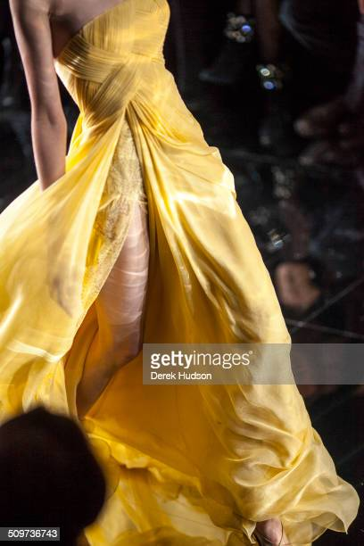 Detail view of the skirt of model on the runway at an Elie Saab fashion show Paris France 2010
