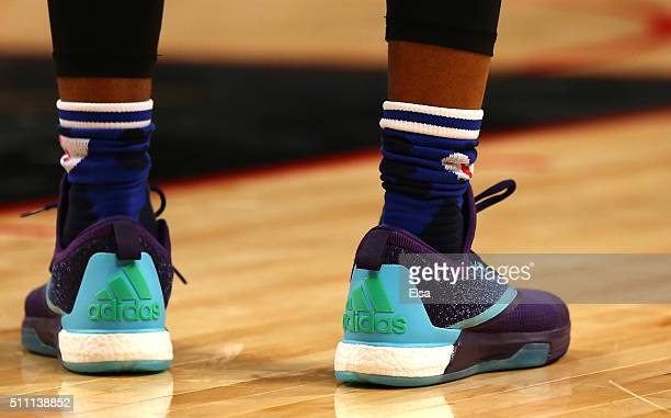 A detail view of the sneakers worn by James Harden of the Houston Rockets and the Western Conference in the second half against the Eastern...