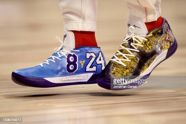 A detail view of the sneakers worn by Pascal Siakam of Team Giannis featuring a tribute to Kobe Bryant before the 69th NBA AllStar Game at the United...
