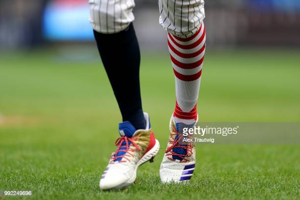 Detail view of the socks and cleats of Aaron Judge of the New York Yankees during a game against the Atlanta Braves at Yankee Stadium on Wednesday...