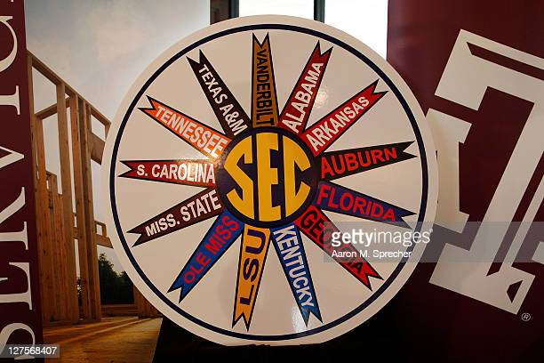 A detail view of the Southeastern Conference logo with all 13 member universities is seen during a press conference for the Texas AM Aggies accepting...