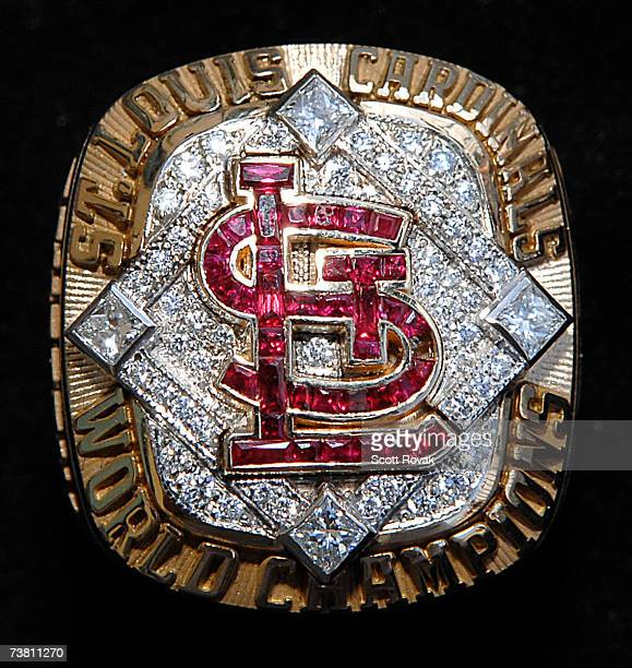 Detail view of the St Louis Cardinals 2006 World Series Ring at Busch Stadium on April 3 2007 in St Louis Missouri