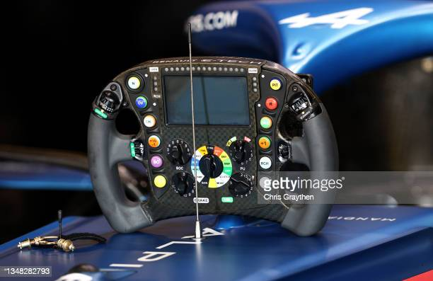 Detail view of the steering wheel of Fernando Alonso of Spain and Alpine F1 Team during final practice ahead of the F1 Grand Prix of USA at Circuit...