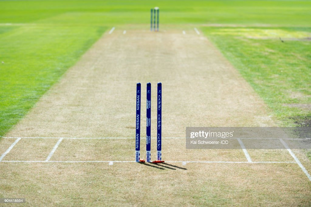 Detail view of the stumps prior to the ICC U19 Cricket World Cup match between Zimbabwe and Papua New Guinea at Lincoln Green on January 13, 2018 in Christchurch, New Zealand.