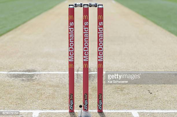 Detail view of the stumps prior to the Super Smash Twenty20 match between the Canterbury kings and the Auckland Aces at Hagley Oval on December 11...