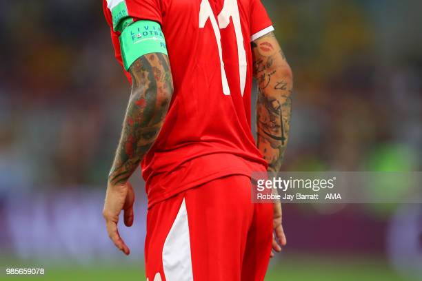 Detail View of the tattoos of Aleksandar Kolorov of Serbia during the 2018 FIFA World Cup Russia group E match between Serbia and Brazil at Spartak...