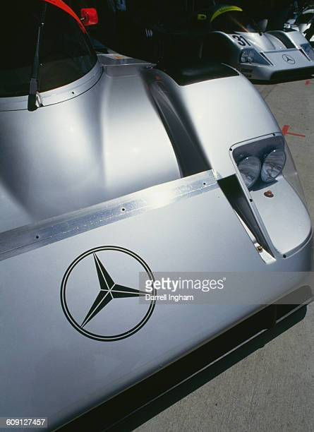 A detail view of the Team Sauber Mercedes MercedesBenz C1 Silver Arrow driven by JeanLouis Schlesser Jochen Mass and Alain Ferte before the start of...