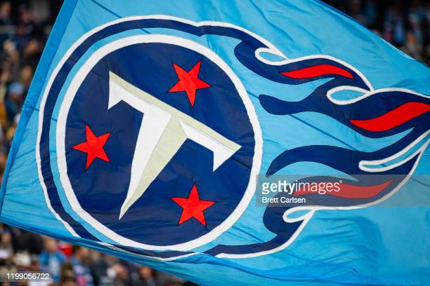 Detail view of the Tennessee Titans logo on a flag waved by cheerleaders during the game against the New Orleans Saints at Nissan Stadium on December...