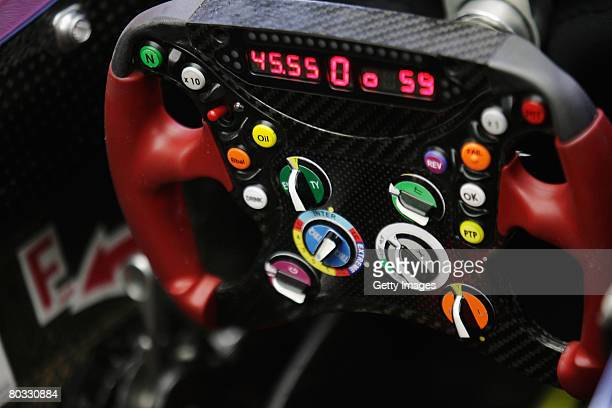 Detail view of the Toro Rosso steering wheel during practice for the Malaysian Formula One Grand Prix at the Sepang Circuit on March 21 2008 in Kuala...
