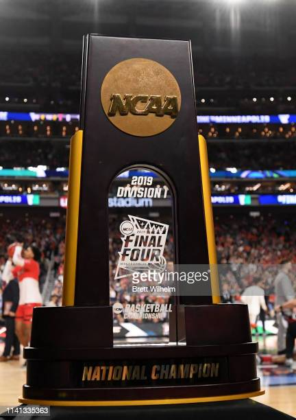 Detail view of the trophy for the 2019 NCAA Photos via Getty Images men's Final Four National Championship game at U.S. Bank Stadium on April 08,...