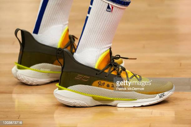 Detail view of the Under Armour basketball shoes worn by Stephen Curry of the Golden State Warriors honoring former NBA player Kobe Bryant and his...