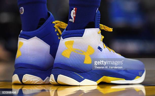 A detail view of the Under Armour sneakers worn by Stephen Curry of the Golden State Warriors as he warms up prior to the game against the Memphis...