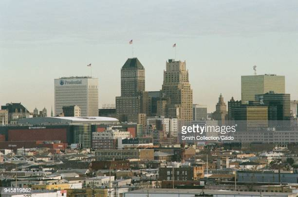 Detail view of the urban skyline of Newark New Jersey with the Prudential Building visible March 18 2018