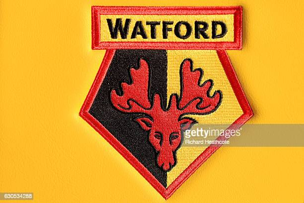 A detail view of the Watford club crest outside the stadium before the Premier League match between Watford and Crystal Palace at Vicarage Road on...