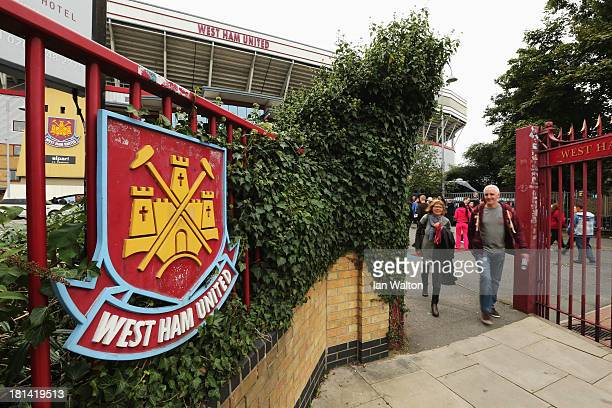 Detail view of the West Ham United club crest is seen outside the ground before the Barclays Premier League match between West Ham United and Everton...